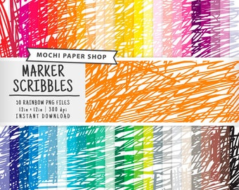 Scribbles on Paper Digital Download, 50 Rainbow Colors, Thick Scribbling Scrapbook Paper, Child's Drawing, Cardmaking Scribble PNG Files