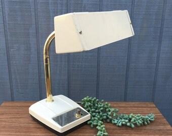 Mid=Century Ivory Metal Desk Lamp