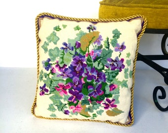 Vintage Needlepoint Pilow with Purple Flowers