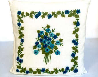 Vintage Crewel Stitched Floral Pillow, Blue, Green and White