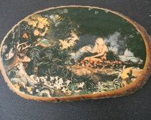 Rare Garden of Eden Adam & Eve Tree Stump Folk Art marked C50 Special Made in USA