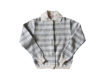 VINTAGE 60/70's / kids / striped waistcoat / cardigan / wool blend / new old stock / size 8/10 Years