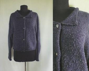 1990s Nubby Blue Cardigan | sweater