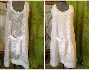 Shabby white apron lace one size fits 38 to 44