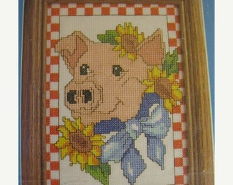 "On Sale Vintage 1994 Candamar Designs Counted Cross Stitch, ""Pig"", Kit No. 5016, 5"" x 7"" Cross Stitch Kit, Farm Animal Pig, New Sealed Packa"