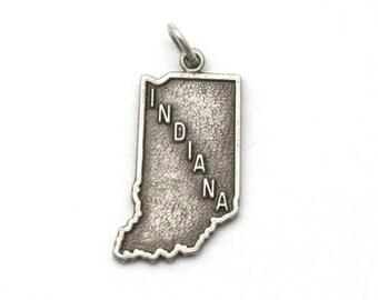 ON SALE Indiana Hoosier State Bracelet Charm Vintage Heritage Sterling Silver IN Pendant