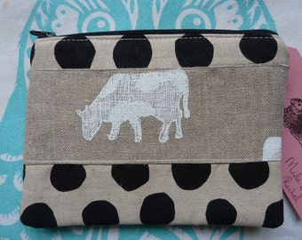 Handmade Moo Cow Makeup Bag Purse Cosmetic Linen Fabric Pouch Padded Lined Emily Bond Farm Animals