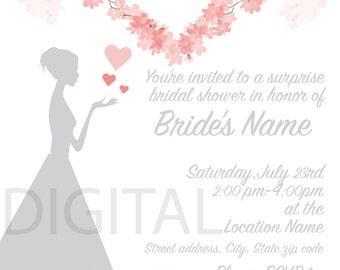 Love Blooms Floral Heart Bridal Shower Invite- Digital File