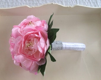 Artificial Wedding Brides bouquet soft vintage pink peonies with greenery satin ribbon and crystals on the stem....