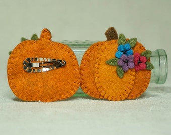 Felt Pumpkin Hair Clip, Wool Felt Halloween Barettt, Thanksgiving Pumpkin *Ready to Ship