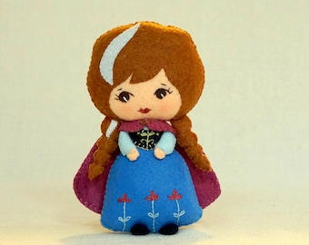 Felt Fairy Tale Princess Doll Anna, Wool Felt Art Doll, Handmade Collectible Doll, Stuffed Plush Toy, Gift for Kids *Ready to Ship