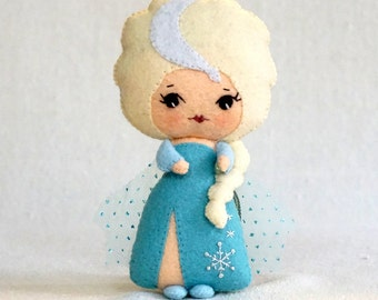 Fairy Tale Princess Doll Elsa, Embroidered Wool Felt Art Doll, Handmade Collectible Doll, Stuffed Plush Toy, Gift for Kids *Ready to Ship