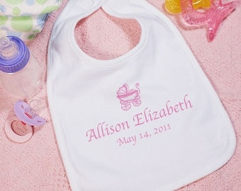 Personalized Pink Baby Girl Carriage Bib