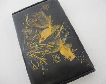Black Lacquer Box Japanese Box Cigarette Box Gold Box Painted Box Goldfish