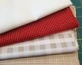 Moda and Riley Blake Red Gray White beige Fabric Bundle check half yard low volume modern small medium print