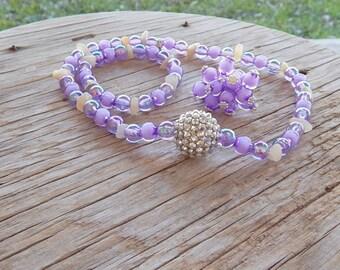REDUCED PRICE Girls Jewelry Set-Lavender Necklace Bracelet and Ring Set-Girls Adjustable Ring