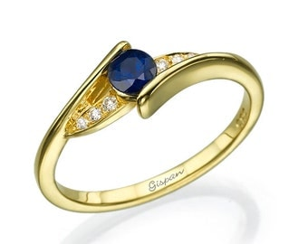 Blue Sapphire Engagement Ring, Yellow Gold Ring, 14k Gold Ring, Promise Ring, Twist Ring, Curved Ring, Diamond Ring, Delicate Ring