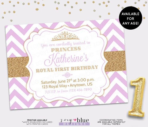 Princess Birthday Invitation Purple Chevron Gold Glitter Little - 1st birthday invitations girl purple