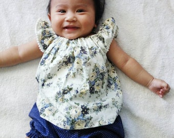 Floral and polkadot baby top and bloomer set, Baby girl clothes, baby clothes set,