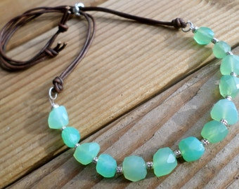 Chrysoprase Necklace and Hill Tribe Silver, May Birthstone, AAA Chrysoprase and Sterling Silver, Artisan Style, Chrysoprase and Leather