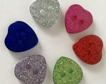 10 x 15mm Glitter Heart Buttons