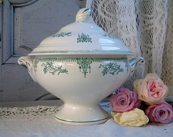 Antique french ironstone green transferware soup tureen. Art Nouveau. Emerald green transferware. Gustavian style. Very clean.