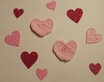 Heart Pins (crocheted-light pink)