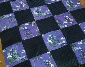 "Tim Burtons Nightmare Before Christmas baby blanket - ready to ship!! Super rare fabric! 36""x 50"""