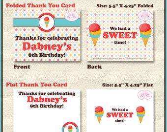 Retro Ice Cream Party Thank You Card Birthday Soda Shop Boy Girl 1st 2nd 3rd 4th 5th 6th 7th 8th 9th Boogie Bear Invitations Dabney Theme