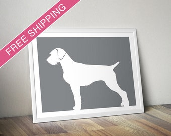 German Wirehaired Pointer Print - German Wirehaired Pointer Silhouette - dog art, dog gift