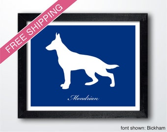 Personalized German Shepherd Silhouette Print with Custom Name (version 1) - German Shepherd art, modern dog home decor