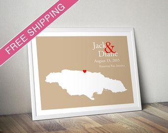 Custom Wedding Gift : Personalized Wedding Location and Country Map Print - Jamaica - Engagement Gift, Wedding Guest Book