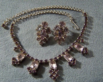 Vintage Pink and Purple Rhinestone Bib Necklace Earring Set Jewelry Art Deco Style **RL