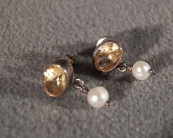 Vintage Sterling Silver with Genuine Citrine and Cultured Pearl Dangle Earrings Jewelry   **RL
