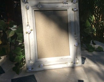 Shabby Chic Frame, Gift Ideas, Vintage Swarovski Crystals Picture Frame, Crystals and Roses Frame, Unique Picture Frame