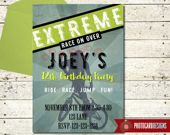 BMX Birthday Invitation | BMX | extreme bike invitation | bmx birthday invite | bicycle invitation | BMX Birthday | Extreme Party | Digital