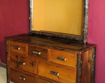 Reclaimed Barnwood dresser with hickory log trim and mirror frame