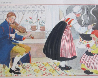 Original Aina Stenberg Masolle Artist Signed Postcard - Swedish Family At Home Traditional Costume - Free Shipping