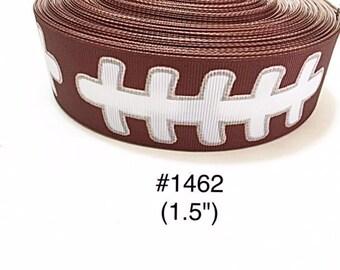 "3 or 5 yard - 1.5"" Football Lace Motif Sport on Brown Grosgrain Ribbon Hair bow"