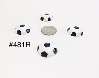 3 or 5 pc Sport Soccer Ball #198R Resin Flat back Cabochon Hair Bow Center
