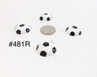 2 pc Sport Soccer Ball #198R Resin Flat back Cabochon Hair Bow Center
