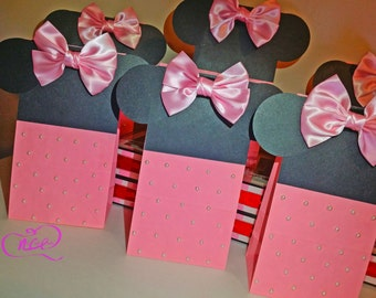 set of 8-Minnie Mouse Treat Bag, Disney Treat Bag, Minnie Mouse Treat, Minnie Birthday Party bags, Minnie Mouse Birthday,Birthday treat bags