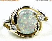 Summer Sale, 30% Off, R021, Created White Opal, 10KY Gold Ring