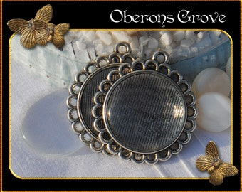 2  silver settings filigree with 20mm cabochons