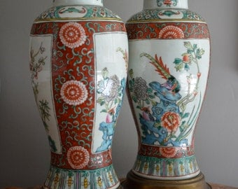 Pair Ginger Jar Lamps, Hand Painted Lamps, Famille Rose Lamps, Chinese Painted Lamps