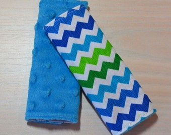 Car Seat Strap Covers - Chevron - Blue, Green