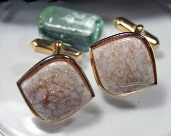 Vintage cufflinks Gold River 70s 80s