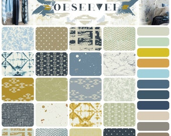 OBSERVER by April Rhodes - Art Gallery - Complete Half Yard Bundle Collection including coordinating solids PE