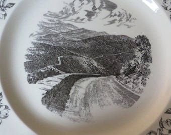 Wedgwood Black and White Plate SKYLINE DRIVE and Dogwoods Featured  //  Shenandoah National Park  //  England Made  //  Virginia Souvenir