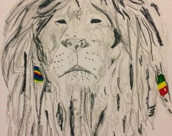 Rasta Lion Pencil Drawing Print